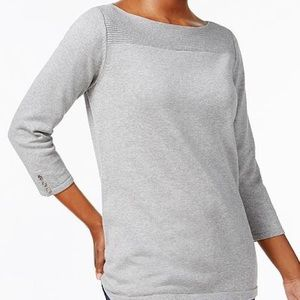 NWT gray boatneck sweater